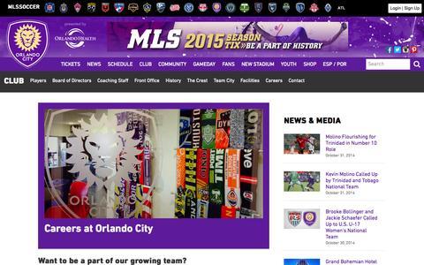 Screenshot of Jobs Page orlandocitysc.com - Careers | Orlando City Soccer Club - captured Nov. 1, 2014