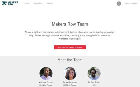 Screenshot of Team Page makersrow.com - Team | Maker�s Row - Factory Sourcing Made Easy - captured Dec. 1, 2015