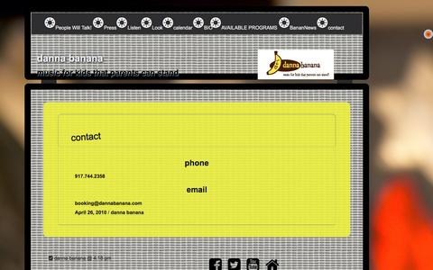 Screenshot of Contact Page dannabanana.com - contact – danna banana - captured Nov. 22, 2016
