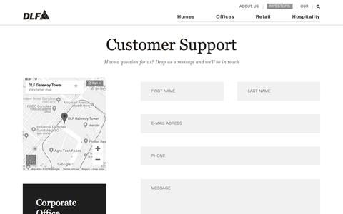 Screenshot of Support Page dlf.in - DLF - captured Aug. 20, 2019