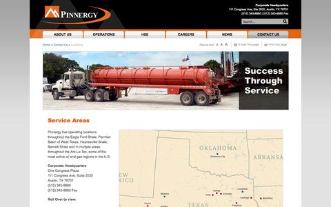 Screenshot of Locations Page pinnergy.com - Service Areas -  Pinnergy | Success Through Service - captured Sept. 30, 2014