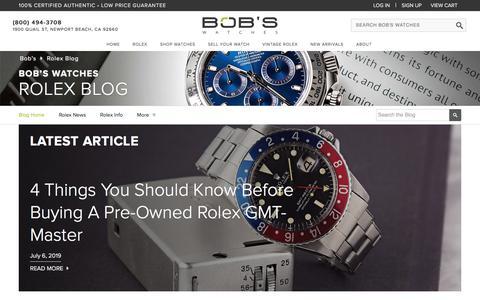 Screenshot of Blog bobswatches.com - Rolex Watches Blog at Bob's Watches - Rolex News, Stories & Updates - captured July 6, 2019