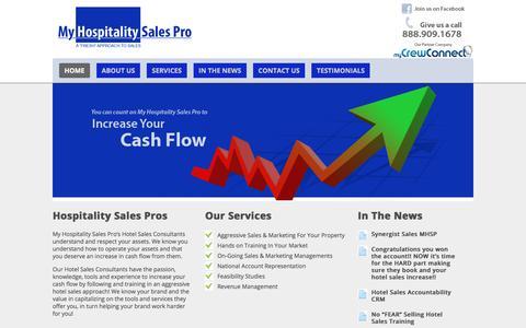 Screenshot of Home Page myhospitalitysalespro.com - My Hospitality Sales Pro - captured Nov. 2, 2017