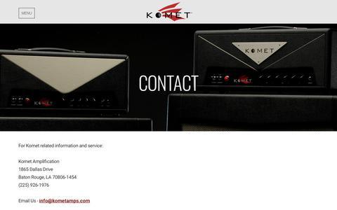 Screenshot of Contact Page kometamps.com - Contact | Komet Amplification - captured Oct. 25, 2018
