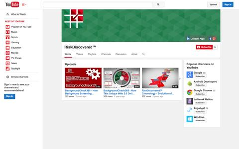 Screenshot of YouTube Page youtube.com - RiskDiscovered™  - YouTube - captured Oct. 26, 2014