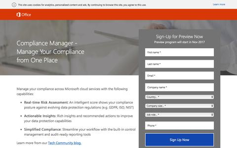 Screenshot of Landing Page office.com - Compliance Manager Public Preview - captured Oct. 27, 2017