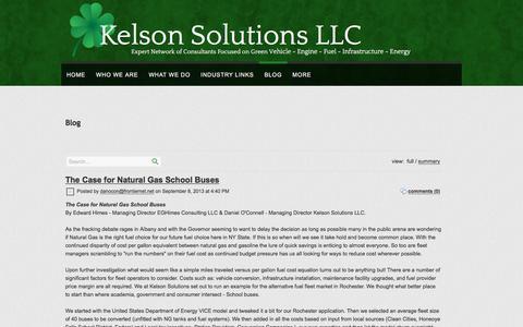Screenshot of Blog kelsonsolutionsllc.com - Kelson Solutions LLC ::Alternative Fuel Consulting:: BLOG - captured Sept. 20, 2018