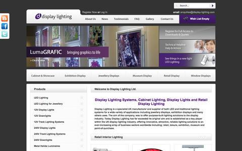Screenshot of Home Page display-lighting.com - Display Lighting Systems UK | Cabinet Lighting | Display Lights | Retail Display Lighting - captured Oct. 5, 2014