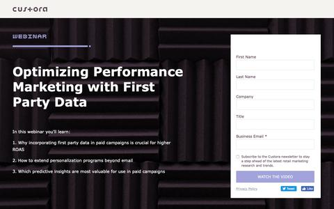 Screenshot of Landing Page custora.com - Custora | First Party Data in Performance Marketing Webinar - captured Jan. 14, 2019