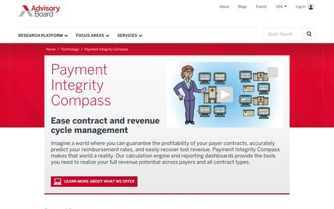Payer performance management | Payment Integrity Compass—Advisory Board Company