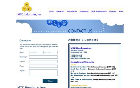 Screenshot of Contact Page mtcindustries.com - mtcindustries | Contact - captured May 25, 2017