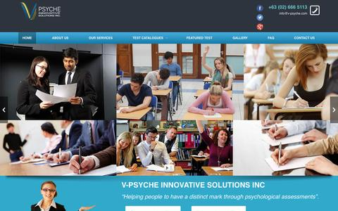 Screenshot of Home Page v-psyche.com - V-Psyche Innovative Solutions for industry and educational tests | Helping people to have a distinct mark through psychological assessments - captured Sept. 4, 2015