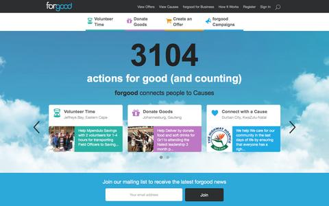 Screenshot of Home Page forgood.co.za - forgood - captured Aug. 4, 2016