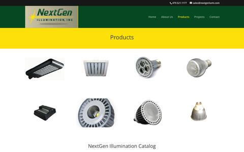 Screenshot of Products Page nextgenillumination.com - Next Gen Illumination, Inc. Lighting Products - captured Feb. 24, 2016
