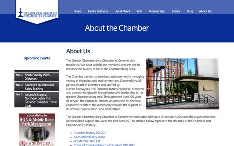 Screenshot of About Page chambersburg.org - About Us - Greater Chambersburg Chamber of Commerce - captured Nov. 11, 2018