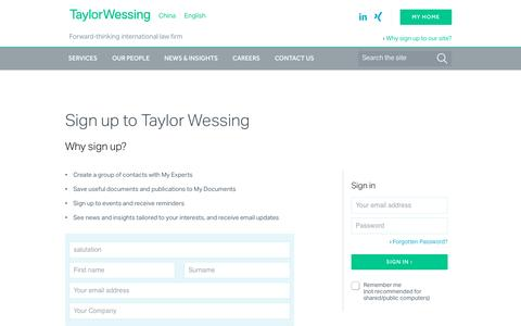 Screenshot of Login Page taylorwessing.com - » Taylor Wessing - captured Jan. 14, 2017