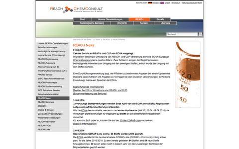 Screenshot of Press Page reach-chemconsult.com - REACH News - captured June 6, 2016