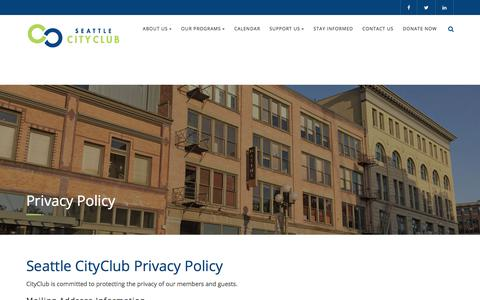 Screenshot of Privacy Page seattlecityclub.org - Privacy Policy – SeattleCityClub - captured June 15, 2017