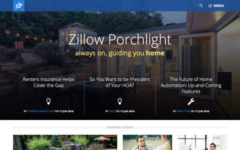 Screenshot of Blog zillow.com - Zillow Porchlight - Always on, guiding you home - captured June 18, 2016