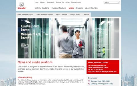 Screenshot of Press Page schindler.com - Media - captured Oct. 10, 2014
