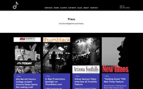 Screenshot of Press Page dmakproductions.com - Press - captured Oct. 3, 2014