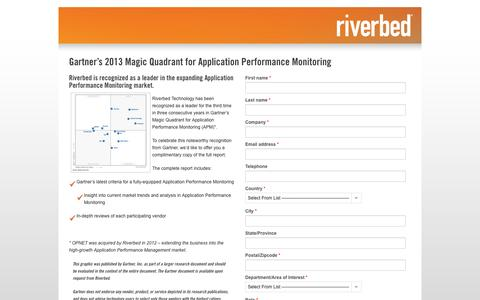 Screenshot of Landing Page riverbed.com - Contact Riverbed | Gartner's 2013 Magic Quadrant for Application Performance Monitoring | Riverbed - captured Oct. 27, 2014