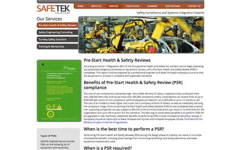 Screenshot of Services Page safetek.ca - Pre-Start Health & Safety Reviews - captured Oct. 3, 2014