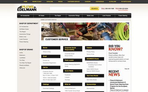 Screenshot of Support Page Hours Page plews-edelmann.com - Customer Service | plews-edelmann - captured Feb. 16, 2018