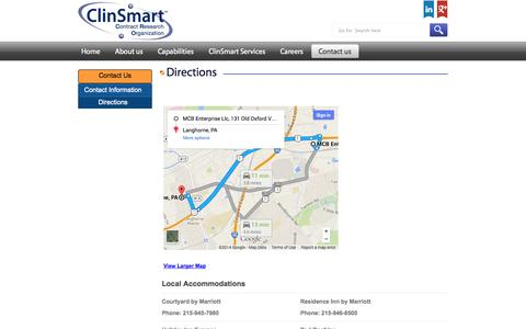 Screenshot of Maps & Directions Page clinsmart.com - Directions | ClinSmart - captured Oct. 2, 2014