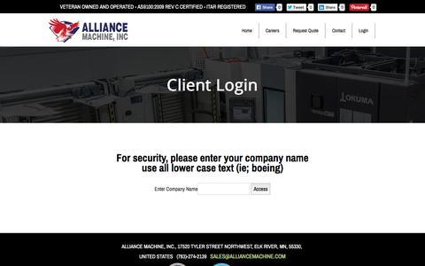 Screenshot of Login Page alliancemachine.com - Login - captured Nov. 20, 2016