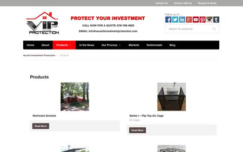 Screenshot of Products Page vacantinvestmentprotection.com - Products | Vacant Investment Protection - captured Oct. 7, 2014