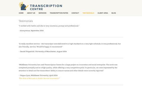 Screenshot of Testimonials Page transcriptioncentre.co.uk - Testimonials — Transcription Centre - captured Oct. 1, 2014