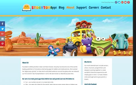 """Screenshot of About Page storytoys.com - StoryToysâ""""¢ Kid's Games, Apps & Interactive Books - captured Nov. 27, 2016"""