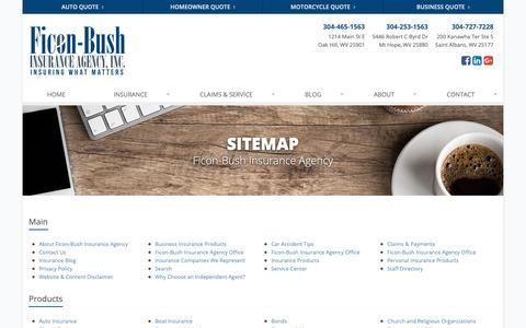 Screenshot of Site Map Page ficonbush.com - Insurance Website Sitemap | Ficon-Bush Insurance Agency - captured Oct. 10, 2018