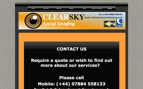 Screenshot of Contact Page clearskyaerialimaging.co.uk - Contact - captured Oct. 2, 2014
