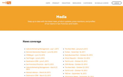 Screenshot of Press Page datahug.com - Datahug | Media, Press Releases and Awards - captured June 1, 2018