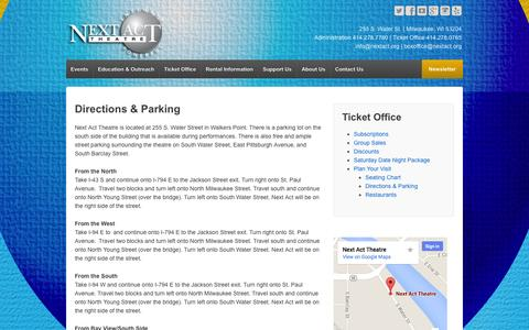Screenshot of Maps & Directions Page nextact.org - Directions & Parking - Next Act Theatre - captured Nov. 3, 2014