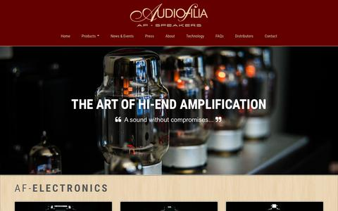 Screenshot of Products Page af-speakers.com - Audiofilia - AF-Speakers, High-end Loudspeakers - captured Feb. 6, 2016