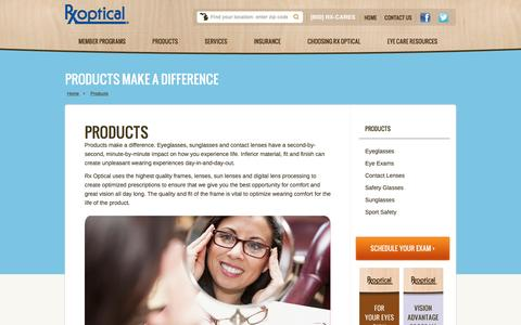 Screenshot of Products Page rxoptical.com - Vision Care Products | Glasses, Contacts & More | Rx Optical - captured Dec. 1, 2016