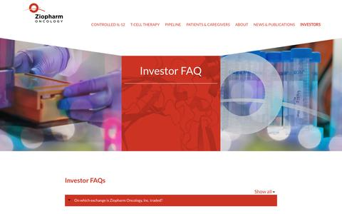 Screenshot of FAQ Page ziopharm.com - Investor FAQs | ZIOPHARM Oncology, Inc. - captured Oct. 19, 2018