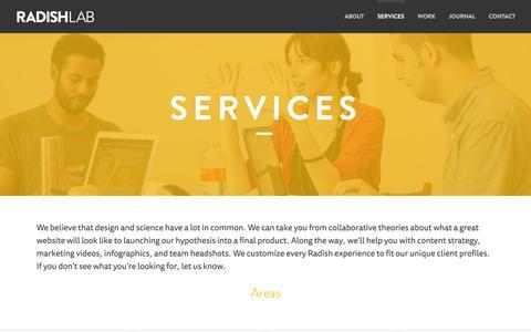 Screenshot of Services Page radishlab.com - Services - Radish Lab - captured Nov. 5, 2014