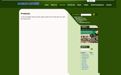 Screenshot of Products Page maglevmovers.com - Products | Maglev Movers - captured Oct. 4, 2014