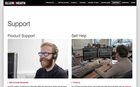 Screenshot of Support Page allen-heath.com - Support - Allen & Heath - captured April 24, 2018
