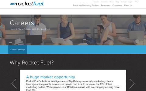 Screenshot of Jobs Page rocketfuel.com - Marketing Technology Jobs | Careers | Rocket Fuel - captured June 8, 2017