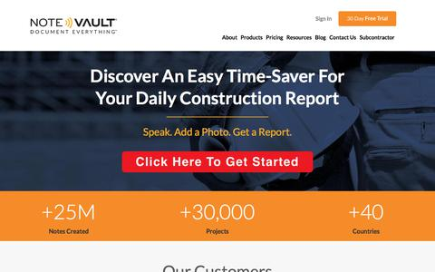Screenshot of Home Page notevault.com - NoteVault | The Best in Daily Construction Reports - captured Nov. 1, 2017