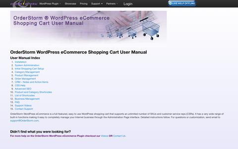 Screenshot of Support Page orderstorm.com - User Manual Index for WordPress E-eommerce Shopping | OrderStorm - captured Oct. 7, 2014