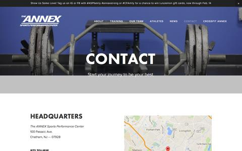 Screenshot of Contact Page annexsportsperformance.com - Contact — The Annex Sports Performance Center - captured Feb. 6, 2016