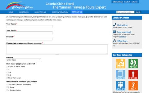 Screenshot of Contact Page colorfulchinatravel.com - Contact Us | The Yunnan Travel & Tours Expert - captured Nov. 9, 2016