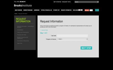 Screenshot of Contact Page brooks.edu - Request Information | Brooks Institute - captured Nov. 2, 2014