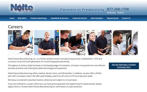 Screenshot of Jobs Page nolteprecise.com - Careers | Nolte Precise Mfg. - captured Nov. 18, 2018